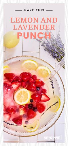 This party punch includes Meyer lemons (regular lemons work just as well), lavender, vanilla, gin and sparkling wine. This delicate and absolutely delicious punch works for pretty much any party, from a bridal shower to a New Year's Eve bash. Spring Cocktails, Holiday Cocktails, Champagne Cocktail, Sparkling Wine, Vanilla Gin, Punch Recipes, Cocktail Recipes, Eve, Bridal Shower