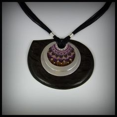 Big silver pendant decorated with cloisonne enamel and framed into bog oak wood. www.facebook.com/ANDcli