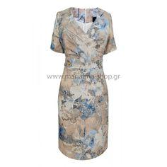 Φόρεμα εμπριμέ ίντιγκο Φορέματα Casual Looks, Shopping, Casual Clothes, Casual Styles
