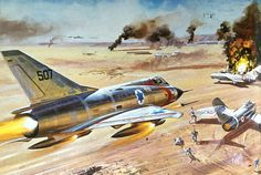 Mirage IIIC and DfD Airfix box art by Roy Cross - Airfix Dog Fight Doubles features an Israeli Mirage attacking a Mig of the Egyptian Air Force Airplane Fighter, Airplane Art, Fighter Aircraft, Fighter Jets, Military Jets, Military Aircraft, F4 Phantom, War Thunder, Aircraft Painting