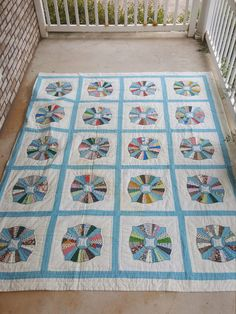 Antique Handmade Dresden Plate Quilt with Four Point Star Variation / Unique Blue and White KING SIZE 104 x 104 Extra Large Vintage Quilted