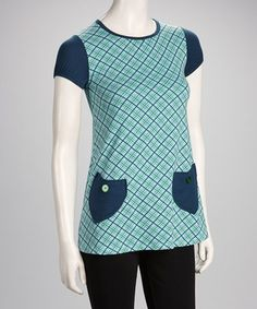 Take a look at this Blue & Green Plaid Button-Pocket Top by Jazzy Martini on #zulily today!