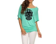Sugar Skull dolman shirt Womens Slouchy Plus Size by MoxieMadness