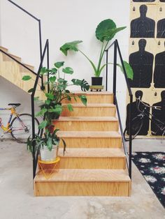 plywood staircase with simple black rail. Lovely