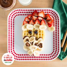 These waffles aren't just good for goodness sake. Fresh strawberries, ripe bananas and Nutella® taste great all year long. But this morning, enjoy a jolly ol' breakfast inspired by jolly ol' Saint Nick.