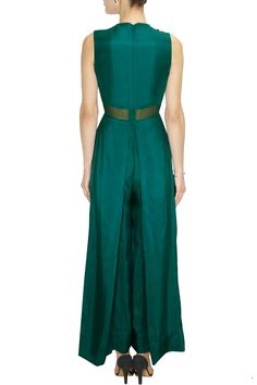Teal leaf embroidered double layered jumpsuit available only at Pernia's Pop Up Shop.