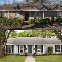 20 Ideas exterior house colors with brick ranch style white trim Reforma Exterior, Café Exterior, Exterior Remodel, Exterior House Colors, Exterior Paint, White Wash Brick Exterior, Exterior Design, Exterior Shutters, Stained Brick Exterior