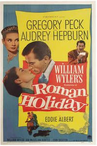 "Roman Holiday (Original poster) by Wyler, William (director) - Los Angeles: Paramount, 1953. American one sheet film poster for the classic 1953 romantic comedy, ""Roman Holiday,"" directed by William Wyler, written for the screen by Dalton Trumbo (writing under the front Ian McLellan Hunter), and starring Gregory Peck, Audrey Hepburn, and Eddie Albert. Near Fine condition, 27 x 41 inches (105 x 89 cm), linen-backed and rolled. -- Listed on Biblio by Royal Books"