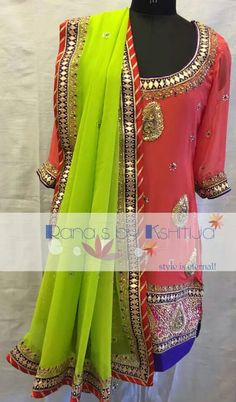 Apple green and pink a lovely bright combination with beautiful handwork. Time to dazzle during the festives and weddings.