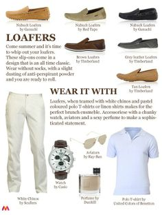 What to wear with #loafers. White #chinos with colored polos or linen shirts. Look great for brunch!