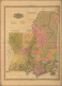 antique map of Louisiana and Mississippi