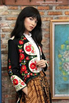 www.batikamarillis-shop.com.  Batik Amarillis's Arcana embroidery jacket ..Stand out in the crowd with this unique and stunning jacket!this contemporary & yet vintage style is accented with exquisite full stumblework Hungarian embroidery style to create 3 D effect also raw tenun gedog Tuban to complete the whole extravagant look!