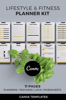 Fitness Planner Kit Canva Template is the perfect solution for fitness trainers, couches and bloggers to design beautiful planner pages. It can be used as an add-on for online course, workbook, e-book, freebie / lead magnet project.Template is fully editable and available in both US Letter and A4 page sizes. 11 unique page layouts.#graphicdesign #fitnesstracker #fitnesslog #plannertemplate #canvatemplate #canvaplanner #mealtracker #workoutlog #planners #plannerprintables Workout Log, Month Workout, Planner Template, Printable Planner, Printables, Lead Magnet, Weekly Meal Planner, Indesign Templates, Fitness Planner
