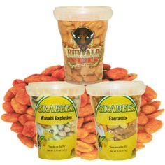 A variety of 3 Crunchy Favorites. Fantastix, Wasabi Explosion, and Buffalo Nuts.