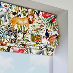 King of the Jungle Safari Roman Blind in Green/Multicoloured. This Roman Blind includes guarantee and child safety features. Safari Nursery, Jungle Safari, Jungle Animals, Nursery Window Treatments, Blinds Direct, Roman Blinds, Roller Blinds, Blinds For Windows, Nursery Inspiration