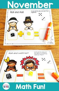 Kindergarten Math Centers roll and add, roll and subtract, perfect for your November themed or Thanksgiving themed units. Kindergarten Activities, Learning Activities, Teaching Ideas, Teacher Created Resources, Teacher Resources, September Themes, November, Activity Centers, Math Centers