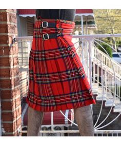 Stewart Tartan Kilt, made from about 5 yards of poly-viscose Acrylic Wool and much lighter than the traditional version. Military Fashion, Mens Fashion, Tartan Fashion, Boys Kilt, Black Kilt, Kilt Shop, Kilts For Sale, Royal Stewart Tartan, Leather Kilt