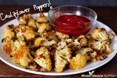 The BEST way to eat cauliflower - Cauliflower Poppers | WholeLifestyleNutrition.com #glutenfree #grainfree #vegetarian