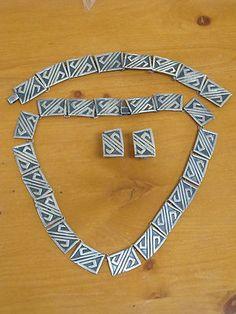 Vintage Mexican Taxco Sterling Silver Azteca Necklace Set Artemio Navarrete | eBay