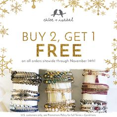 Get wrapped up in our Buy 2, Get 1 FREE Sale – now through November 14th! visit my website at https://www.chloeandisabel.com/boutique/crystalnewsome