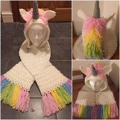 Amazing Unicorn Crochet Hat Scarf Pattern #CrochetScarf
