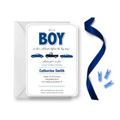 Car Baby Shower Invitations for Boys Its a by AnchoredByLoveLLC