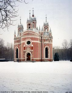 Church of John the Baptist at Chesme Palace, near St Petersburg, Russia. via Dystopos on Flickr.