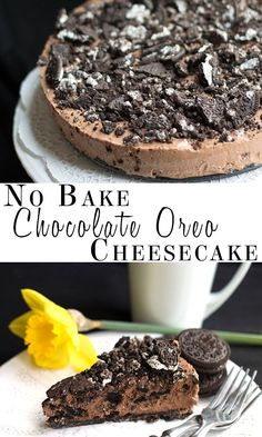No Bake Chocolate Oreo Cheesecake - Erren's Kitchen - This recipe makes a decadent, tempting chocolate cheesecake that's loaded with Oreo goodness! >>no bake oreo, no bake cheesecake, no bake oreo cheesecake Mini Desserts, No Bake Desserts, Just Desserts, Delicious Desserts, Dessert Recipes, Yummy Food, Oreo Desserts, Oreo Cheesecake, Chocolate Cheesecake