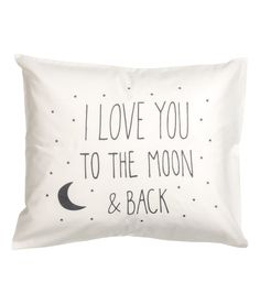 Check this out! Pillowcase in cotton fabric with printed text. Thread count 144. - Visit hm.com to see more.