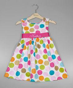 Pink Polka Dot Personalized Sash Jumper - Infant