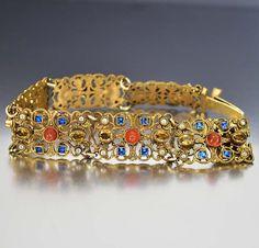 Czech Art Deco Bracelet Sapphire Glass Citrine by boylerpf on Etsy