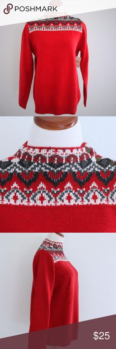 """Fair Isle Funnel Neck Ski Sweater Christmas Large New, with tags Coldwater Creek fair isle funnel neck red sweater.  The beading around the neck really give it that extra sparkle!  Perfect for the holiday season. Nylon wool blend. Buttons on side neck. In new condition. There are a couple of small spots where the white looks pink where it touches up against the red. See photos. Size L.  Bust: 43"""" Sleeve from shoulder: 24.5"""" Shoulder to shoulder: 15.75"""" Length down center back: 28.5""""  From…"""