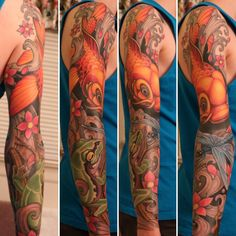 Koi/treefrog/dragonfly full-sleeve by Jason Stephan @ Loose Screw Tattoo in Richmond VA