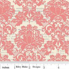 LAMINATED Cotton Pale Pink Damask by Riley Blake  1 by Laminated, $13.00