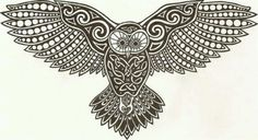 Celtic owl. I want to make this into a prayer shawl pattern.