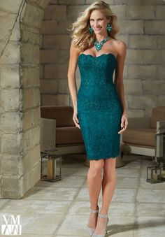 Morilee - VM | Evening Gowns - 71202 Stretch Lace Cocktail Dress with Delicate Beading