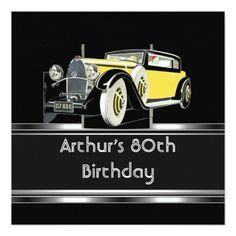 Mans 80th Birthday Party Black Vintage Car
