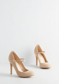 Shoe Had Me At Hello Heel in Beige - High, Faux Leather, Tan, Solid, Wedding, Party, Work, Daytime Party, Vintage Inspired, 20s, Minimal, Good, Mary Jane, Variation, Buckles