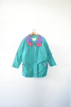 c6c82f99f1 BRIGHT WINTER JACKET    size womens medium    90s    coat    colorblock     patterned    abstract    ski   mountain   vtg   neon   vintage