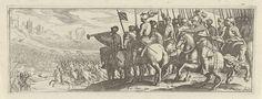 Simon Frisius | Ruiters met lansen, Simon Frisius, 1595 - 1628 | Rechts staan cavaleristen met lansen op een heuvel. Ze kijken uit op een veldslag.