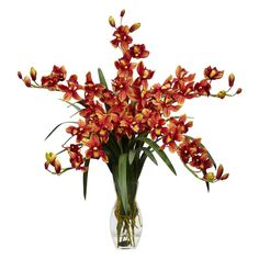 Have to have it. Cymbidium Orchid with Vase Silk Flower Arrangement - $89.99 @hayneedle