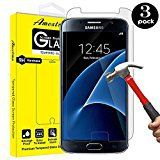 #4: Galaxy S7 Screen Protector[3 Pack] Amextrian Glass Protector [Tempered Glass] 9H Hardness Bubble Free [Case Friendly]