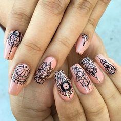 Ana karpova (@malishka702_nails) • Instagram photos and videos Henna Nail Art, Henna Nails, Lace Nails, Nail Lab, Mandala Nails, Cute Nail Art Designs, Fall Acrylic Nails, Crazy Nails, Nail Games