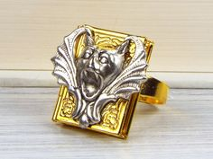 Gargoyle Bat Ring, Book Locket, Silver and Gold Plated, Gothic Jewelry, Goth, Halloween, Bat Jewelry $19 via @shopseen