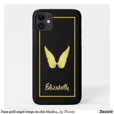 Faux gold angel wings on chic black and name iPhone 11 case Iphone 11, Apple Iphone, Iphone Cases, Gold Angel Wings, Iphone Accessories, Plastic Case, Black Backgrounds, Christmas Gifts, Chic