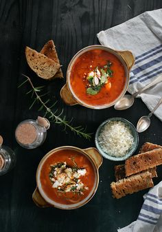 Tomatoe soup with parmesan cheese and seeds.