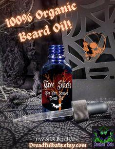 💀--TREE SLICK TEA TREE SCENTED BEARD OIL--💀 --100% Pure Tea Tree Essential Oil-- --Promotes Hair Growth in Beards-- --100% Organic-- --100% Vegan-- Get one of these bad boys @ Dreadful Bats on Etsy! Tea Tree Beard Oil, Diy Beard Oil, 100 Essential Oils, Tea Tree Essential Oil, Glass Dropper Bottles, Vitamin E Oil, Carrier Oils, Hair And Beard Styles, Hair Oil