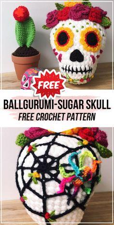 crochet Ballgurumi-Sugar Skull free pattern - easy crochet halloween pattern for beginners Crochet Skull Patterns, Halloween Crochet Patterns, Crochet Fall, Easy Crochet, Free Crochet, Crochet Crafts, Crochet Projects, Crochet Pour Halloween, Confection Au Crochet