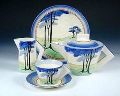 """Art Deco morning tea set - """"Blue Firs"""" by Clarice Cliff. From Art Deco/Jennifer Paull. Via Lovers of Blue and White. Vintage Pottery, Pottery Art, Clarice Cliff, Teapots And Cups, Teacups, China Art, Art Deco Period, China Patterns, Art Deco Design"""