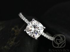 Blanche 7.5mm 14kt White Gold F1 Moissanite Cushion and
